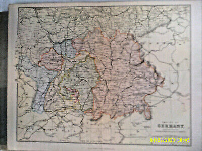 Antique Map. EMPIRE of GERMANY (Southern Portion). Wm. Mackenzie. Undated. VG.