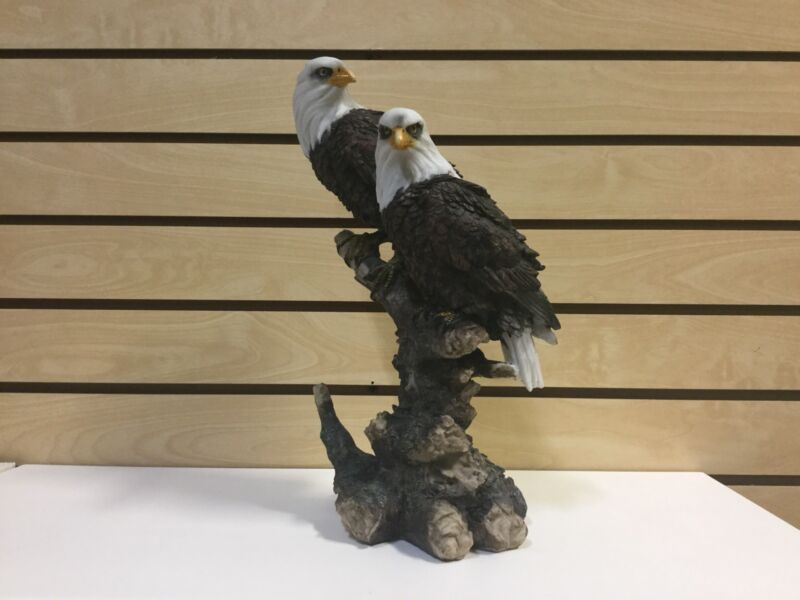 Resin Two Bald Eagle On A Limb Statue