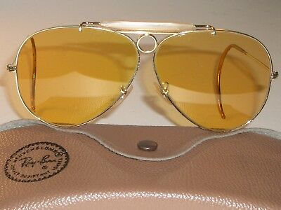1960's VINTAGE BAUSCH & LOMB RAY BAN AMBERMATIC SHOOTING AVIATOR SUNGLASSES