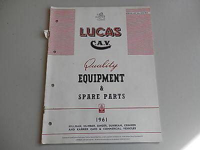 LUCAS Parts List for 1961 HILLMAN HUMBER SINGER SUNBEAM COMMER KARRIER