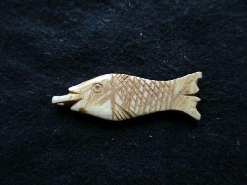 NORTHWEST COAST CARVED  MOOSE ANTLER EFFIGY, HAND CARVED FISH, WY-0721*05749