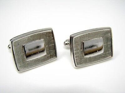 Vintage Cufflinks Jewelry: Retro Brushed Silver Tone Smooth