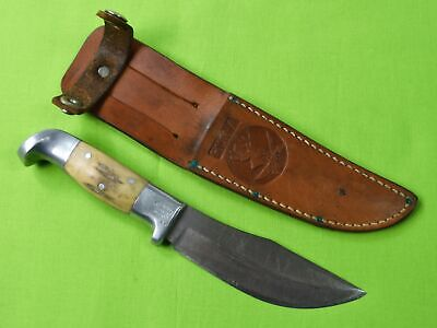 RARE Vintage Custom Handmade R.H. RUANA PT Marked Skinner Hunting Knife & Sheath
