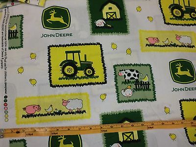 JOHN DEERE fabric TRACTOR FABRIC FARM SCENE WHITE CP55575  BTY NEW for sale  Shipping to India