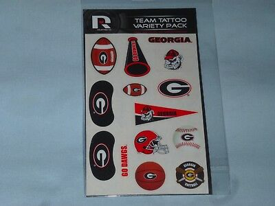 GEORGIA BULLDOGS  Team Tattoo Variety Pack  NIP  by RICO   Set of 2 Packages - Georgia Bulldog Tattoos