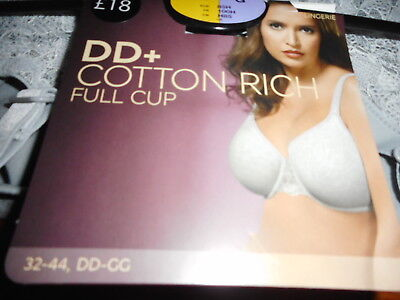 Cotton Smooth Cup Bra - 34DD  GREY  MARKS & SPENCERS COTTON RICH UNDERWIRED SMOOTH FULL CUP BRA  BNWOT
