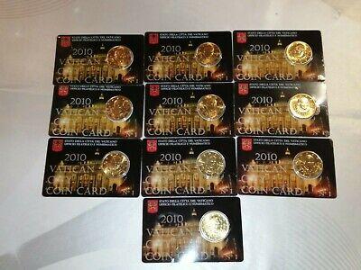10 Coincards vatican 0,50 euro cents  ( fdc bu kms) année 2010