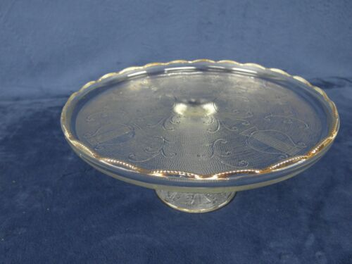 Jeannette Harp Lyre Clear Textured Gold Accent Pedestal Cake Stand Plate Vintage