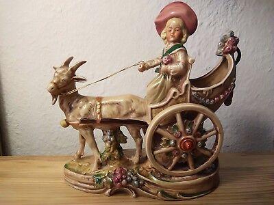 Alte Porzellan Kutsche Ziegenbock Kind handbemalt