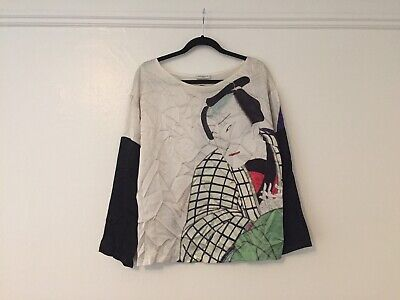 DRIES VAN NOTEN 100% SILK Japanese art print blouse long sleeve vintage shirt 40