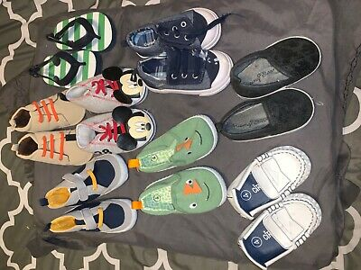infant baby boy shoes sizes 4 for 0 - 9  months lot of 8