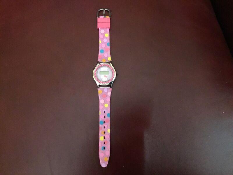 Hello Kitty Rhinestone Digital Pink Polka Dot Watch Band