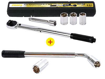 Radmutternschlüssel 17/19+21/23 mm + Drehmomentschlüssel Verlängerung Nüsse