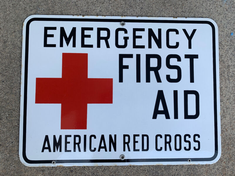 NR mint Antique Original porcelain Sign AMERICAN RED CROSS EMERGENCY FIRST AID