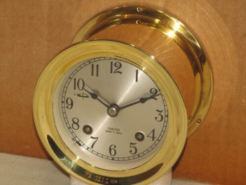 CHELSEA VINTAGE SHIPS BELL CLOCK~3 3/4 IN DIAL~1974~RESTORED