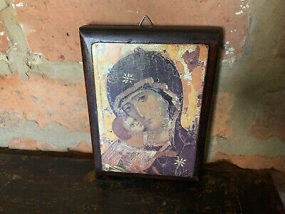 FRENCH RELIGIOUS ICON WALL PLAQUE IN WOOD