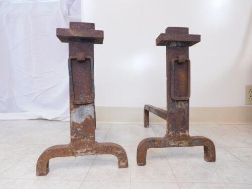 Pair Antique Primitive Arts & Crafts Big Buckle Fire Dog Fireplace Andirons