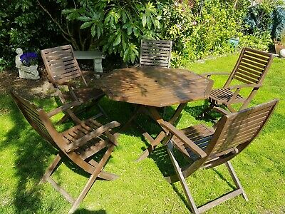 6 PIECE GARDEN OUTDOOR PATIO SUMMER FURNITURE  ROUND TABLE AND 5 CHAIRS SET Wood
