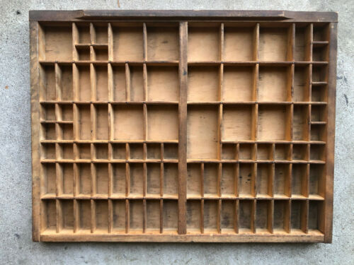 2/3rds size Antique Letterpress wooden TYPE TRAY w/ raised front lip drawer pull