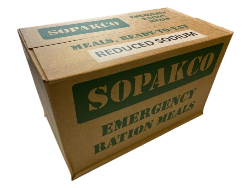 Case SOPAKCO MRE Emergency Ready to Eat 09/20 Inspect Date REDUCED SODIUM