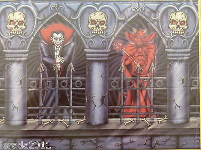 ER LARGE WALL DECORATION DRACULA DEVIL REUSABLE 2 METRE LONG (Scene Setter Halloween)
