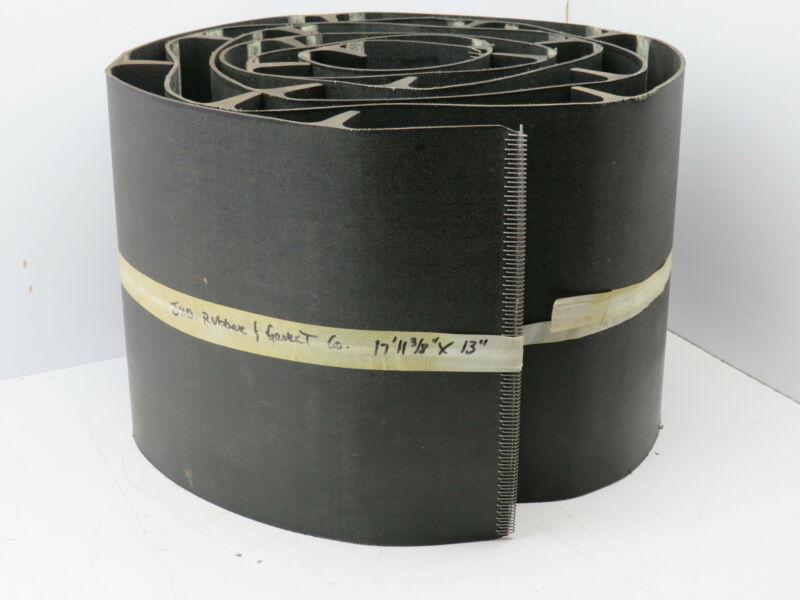 "Black Rubber Cleated Incline Decline Conveyor Elevator Belt 13"" x 17"