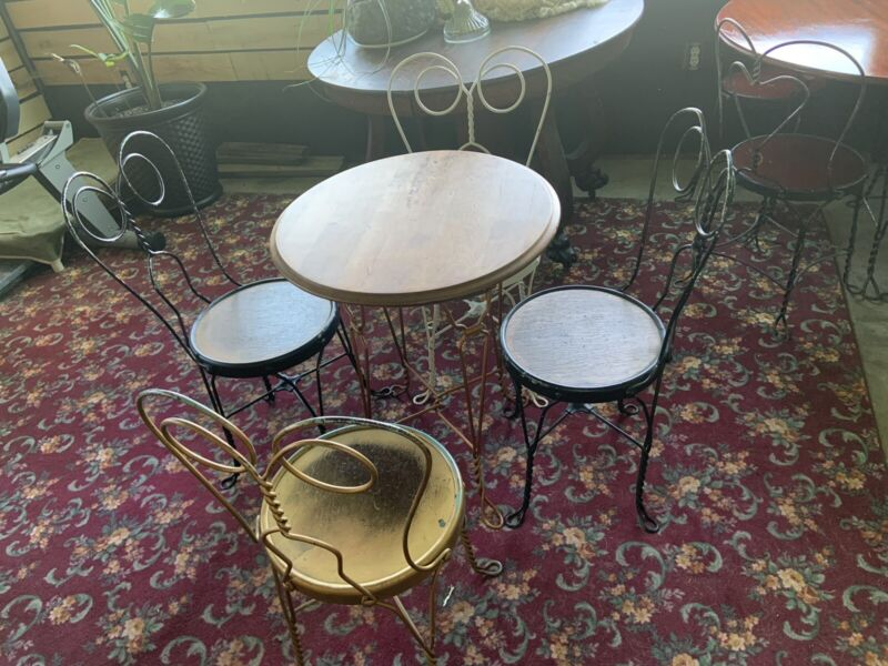"Antique Ice Cream Parlor Set Table & 4 Chairs 24"" Table"