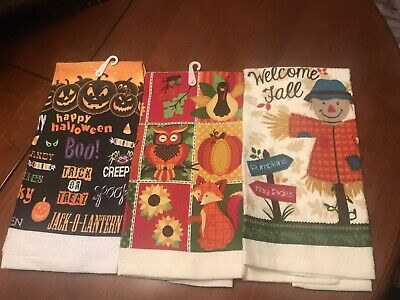 "NWT- 3- Different Kitchen Towels~Halloween & Autumn / Fall - Cotton/ 14""x 24"""