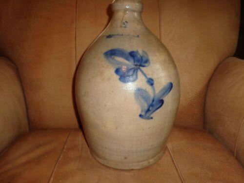 Antique Penn. Yan. Cobalt Blue Flower Decorated 2 Gallon Stoneware Jug, (j1)