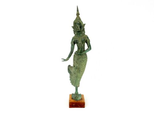 """Thai BRONZE 21"""" Teppanom Dancer Statue With Pointed Head Dress Traditional Dress"""