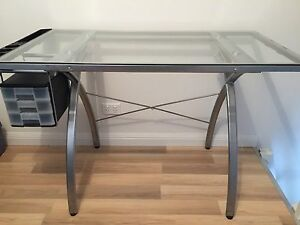 Adjustable Glass Top Desk Mangerton Wollongong Area Preview