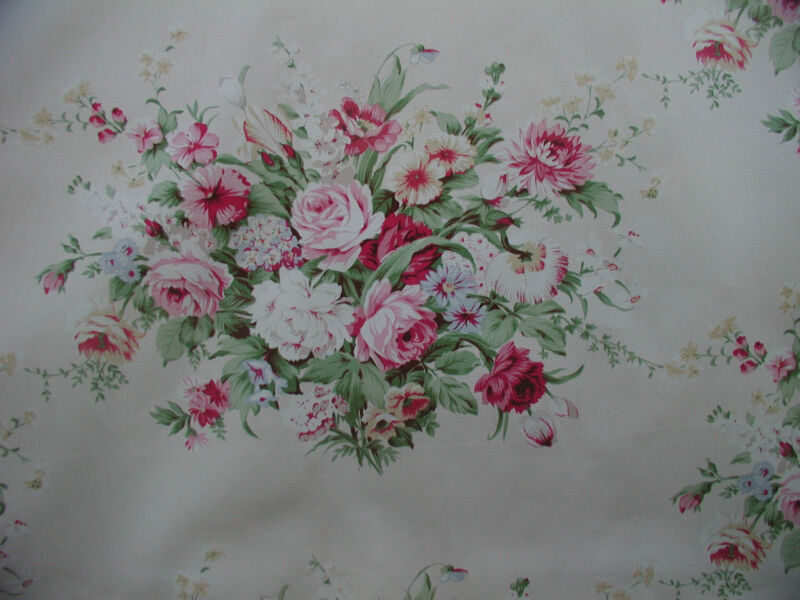 American Folk and  Fabric Ashley Raspberry Pink Roses Cotton Vintage Appeal