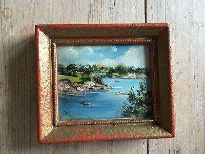 Small original enamel painting (7.5cm x 8.5cm) framed, signed