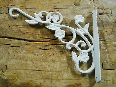 Cast Iron Victorian Style WHITE SCROLL Plant Hook Garden Hanger Wall Barn Fence