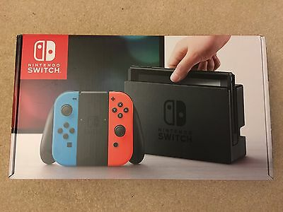 New Sealed  Nintendo Switch 32Gb Gray Console  With Neon Red Neon Blue Joy Con