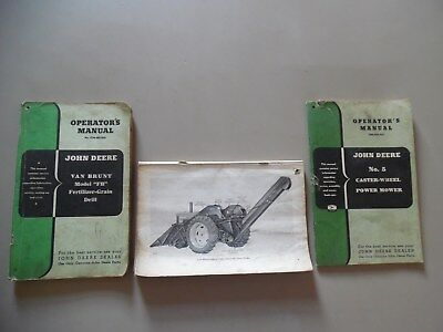 Vtg John Deere 227 Corn Picker Van Brunt Fb Grain Drill No. 5 Power Mower Manual