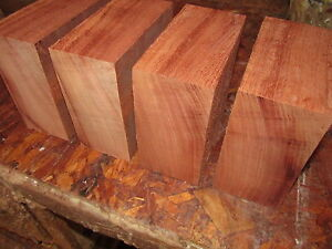 FOUR-KILN-DRIED-AFRICAN-MAHOGANY-BOWL-BLANKS-WOOD-LUMBER-BLOCKS-6-X-6-X-3