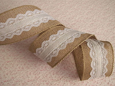 Burlap and White Lace Ribbon, 7 YARDS, Wired Edge,  2 1/2 In Wide, Home Decor