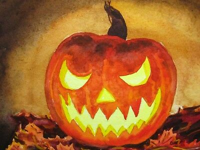 Painting Halloween Pumpkin Jack O Lantern Face Candle Light Fall Leaves ACEO Art - Face Painting Halloween Pumpkin