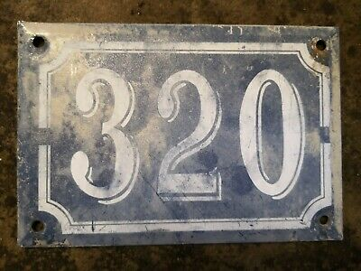 French House Number 320 Plate Vintage Antique