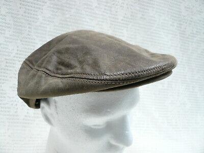 Vtg Brown Leather Golf Newsboy Cabbie Cap Hat Adventure Bound USA XL X Large Men