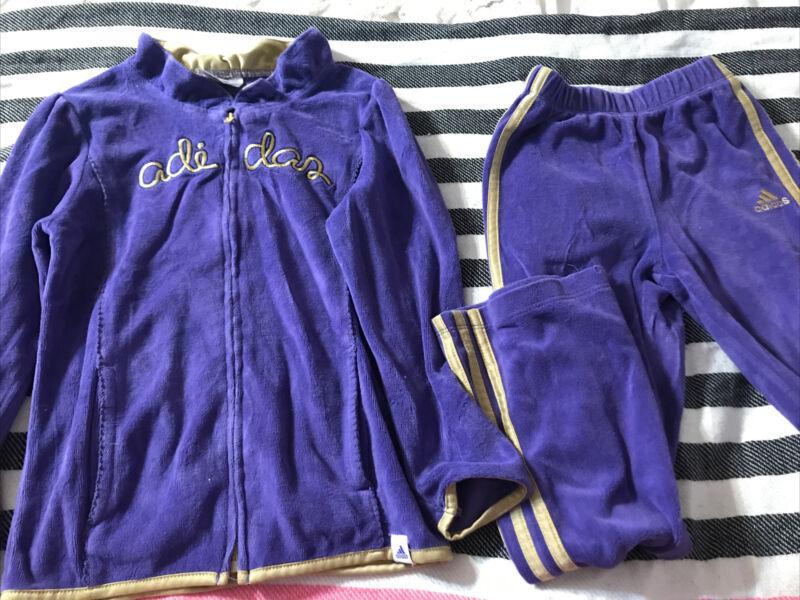 Adidas Kids 6x Purple Velour Tracksuit Jacket Pants.  K