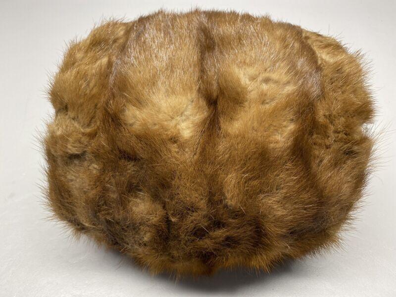 Vtg Fur Womens Barrel Muff Dk Brown Winter Hand Warmer Costume