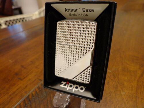 HATCH DESIGN HIGH POLISH CHROME ARMOR ZIPPO LIGHTER MINT IN BOX