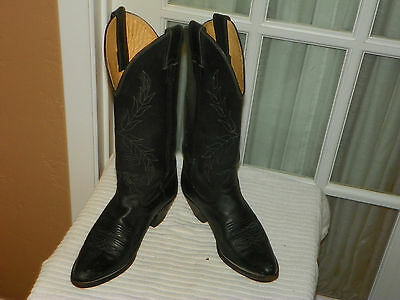 Women's Justin Black Leatner Cowgirl Boots Style L 4814 size 6 B made in USA (Justin Women Boots Black)
