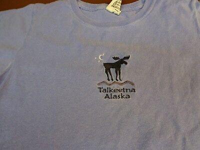 Talkeetna Alaska  T Shirt Blue Womens Small  Moose Ladies Comfort Colors   P8