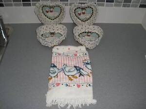 4 Heart Shaped Geese Themed Covered Cane Baskets & Geese T Towel Albany Creek Brisbane North East Preview