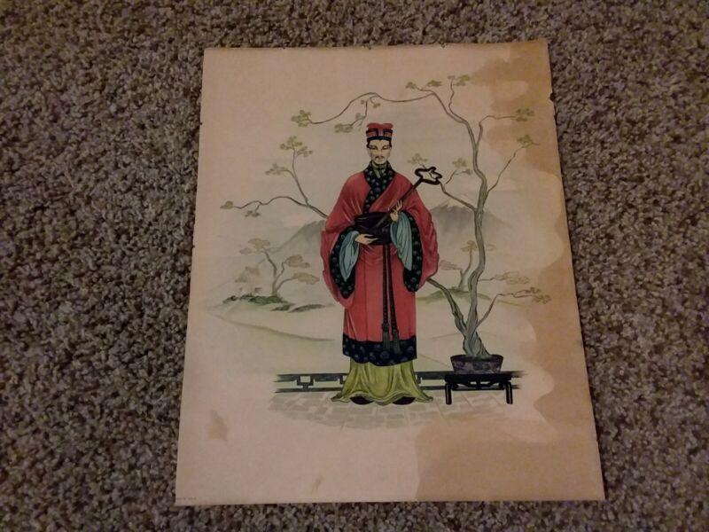 Vintage Chinese Print Man W/ Staff Asian Culture Wall Art Illustration Old Antiq