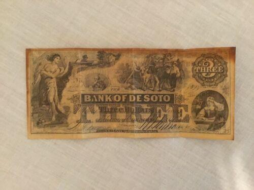 Vintage NEBRASKA CENTENNIAL COMMISSION 1967 $3 Bill-Bank of DeSoto
