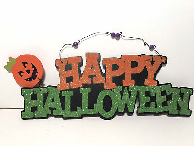 HAPPY HALLOWEEN GLITTER SIGN - Happy Halloween Glitter Sign